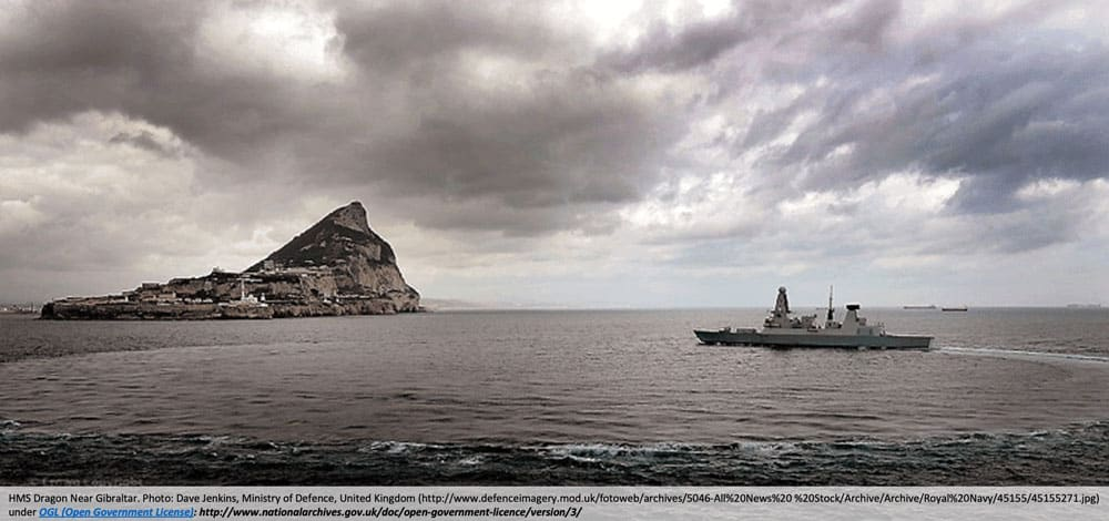 HMS Dragon Near Gibraltar. Photo: Dave Jenkins, Ministry of Defence, United Kingdom under license
