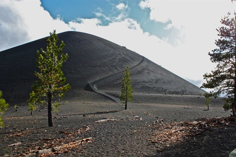A trail winds up the north side of Cinder Cone volcano. Photo: Lassen NPS, public domain.