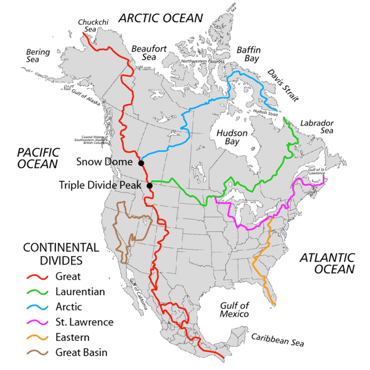 What Is A Continental Divide GeoLounge All Things Geography - Bodies of water us map