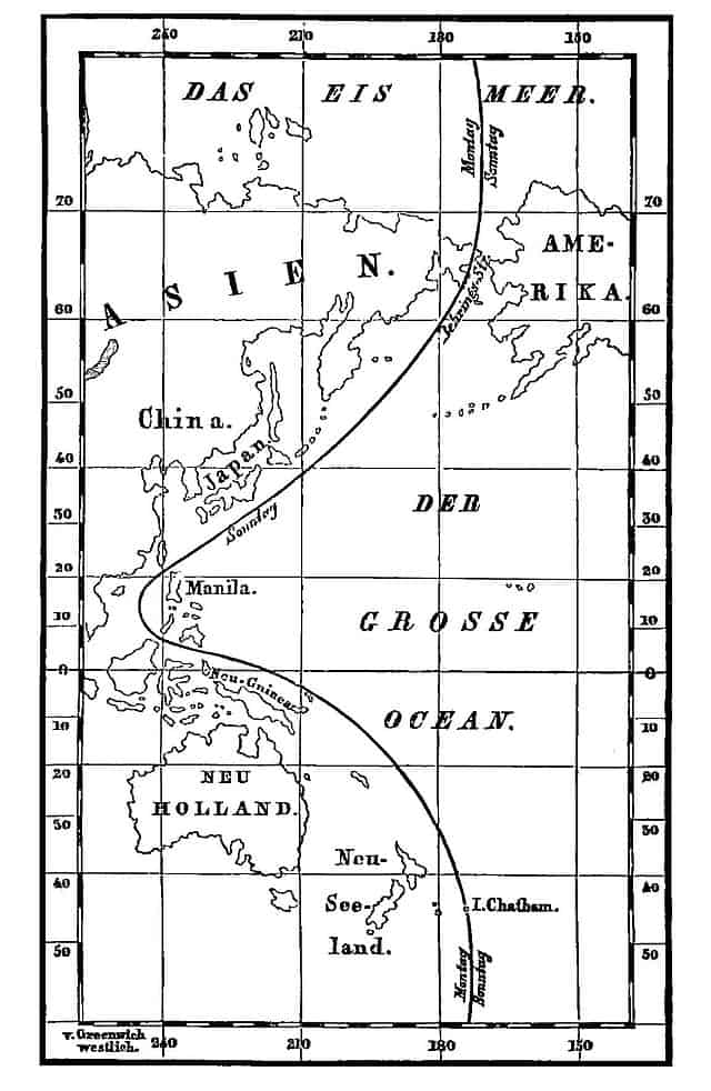 German map of the International Date Line in 1872 showing the separation between Sunday (Sonntag) and Monday (Montag).  Source: Wiki Commons.