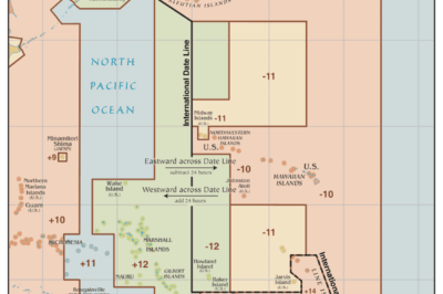 Map showing the International Date Line. Source: Wiki Commons, 2014.