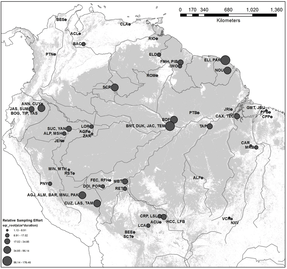Map showing locations of plots included in this study. Map: Brienen et al, 2015.