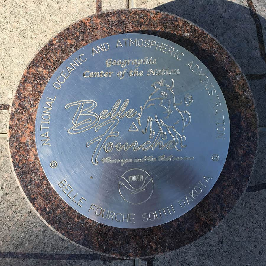 Geodetic marker from the National Geodetic Survey marking the location of the geographic center of the United States (including Hawaii and Alaska). Image: NOAA