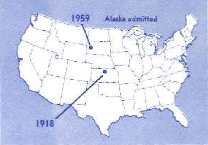As the United States has expanded and admitted new states to the union, the geographic center has shifted.  Map: NOAA