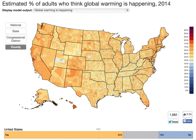 County level map of estimated % of adults who think global warming is happening, 2014.