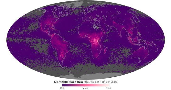 Map of Global Lightening Strikes. Source: NASA