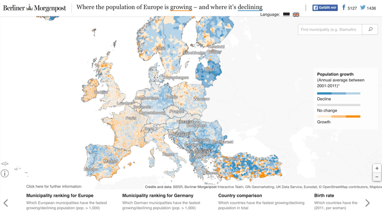 Map of Where the Population of Europe Is Growing and Where Its