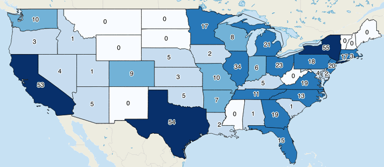 map showing the number of fortune 500 company headquarters per state with counts as labels
