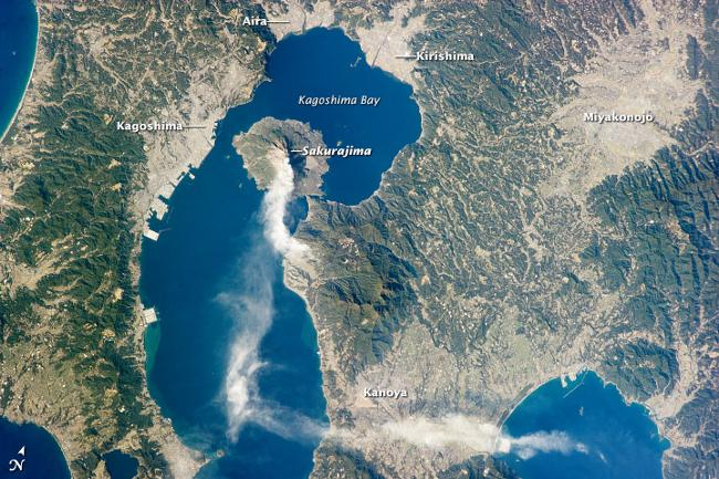 Sakurajima is one of Japan's most active volcanos. A major eruption in 1914 connected it to the mainland of Japan. Image: NASA, taken from the International Space Station.
