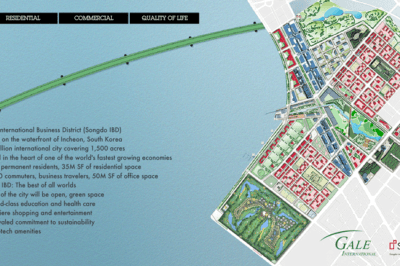 """Songdo is a new South Korean """"smart city"""" build from scratch on 1,500 acres of reclaimed land. Map from Songdo IBD."""