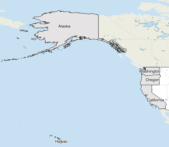 Map showing West Coast States with access to the Pacific Ocean.  Map created using QGIS with Natural Earth GIS data.