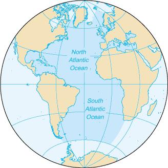 Map of the Atlantic Ocean. Map: CIA World Factbook, public domain.