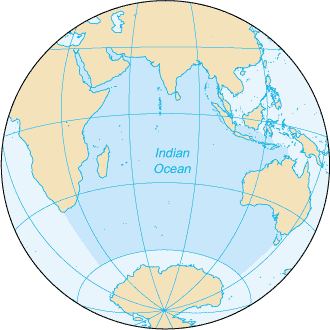Map of the Indian Ocean. Map: CIA World Factbook, public domain.