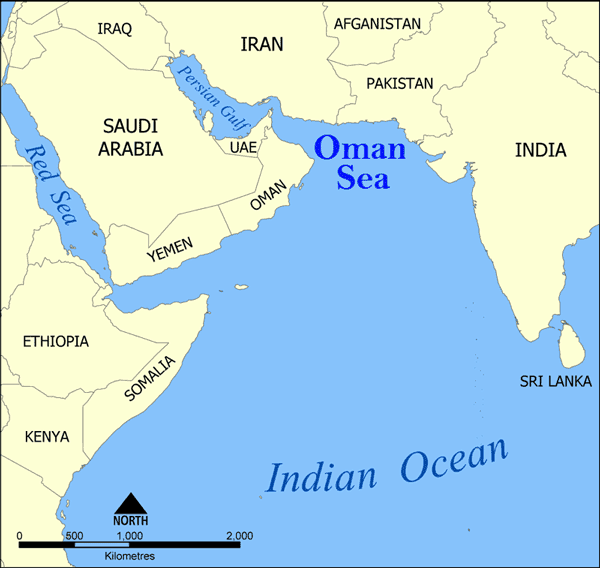 Map showing the Indian Ocean, Oman Sea, and the Red Sea. Map: Epmistes, MediaWiki Commons.
