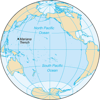 Map of the Pacific Ocean. Map: CIA Factbook, public domain.