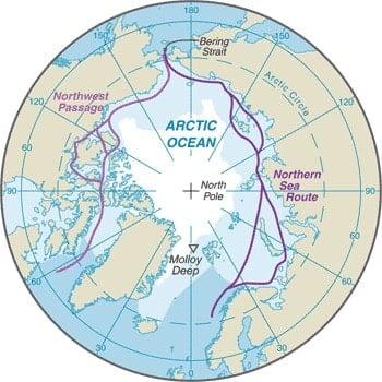 Map of the Arctic Ocean. Map: CIA World Factbook, public domain.