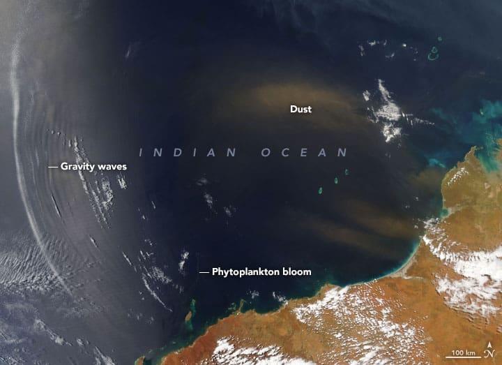 NASA's Aqua satellite captured this view of the Indian Ocean off the coast of Australia on October 21, 2019. Image: NASA, public domain
