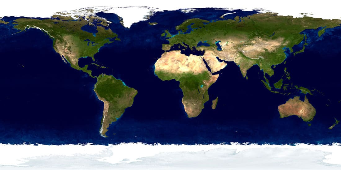 This true-color image created by stitching together satellite imagery shows areas of the Earth that are ocean (blue). Image: NASA, 2002.