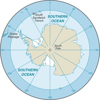 Map of the Southern Ocean. Map: CIA World Factbook, public domain.