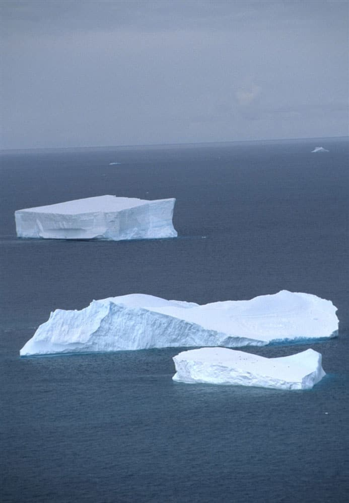 Tabular icebergs in the Southern Ocean. Photo: Mike Goebel, NOAA NMFS SWFSC Antarctic Marine Living Resources (AMLR) Program, 1992, public domain.