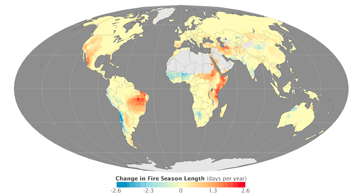 Changes in fire season length from 1979 to 2013.  Map by Joshua Stevens, using data provided by Matt Jolly, USDA Forest Service.