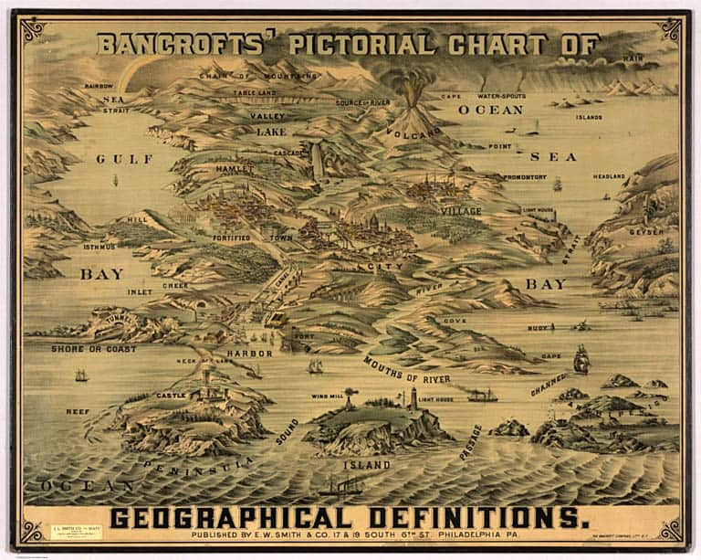 Geographical definitions by the Bancroft Company, circa 1870.