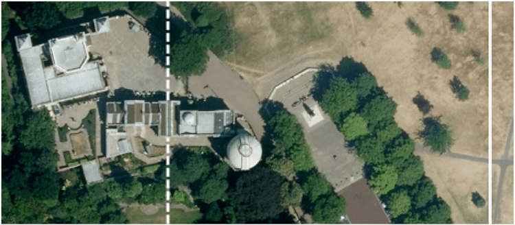 """The Airy meridian marked as the """"Prime Meridian of the World"""" (dotted line), and the modern reference meridian indicating zero longitude using GPS (solid line). (Imagery © 2014 Google Maps, Infoterra Ltd. & Bluesky)"""