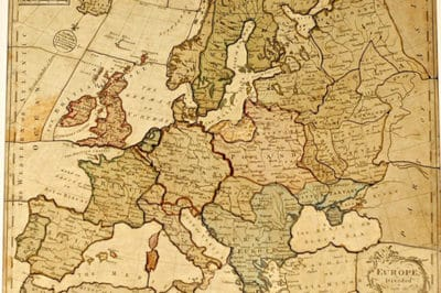 One of the earliest known published jigsaw puzzles: Europe Divided Into Its Kingdoms, John Spilsbury, 1760s.