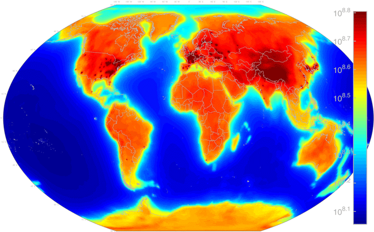 Worldwide antineurino glow map showing geoneutrinos from both natural sources Uranium-238 and isotopes of thorium as well as from manmade sources such as power reactors.