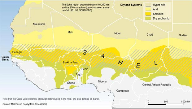 Climate change in the Sahel has resulted in dried lakes, unemployed fishermen, droughts, flooding, conflict, and food insecurity. Map: Millennium Ecosystem Assessment report on Ecosystems and Human Well-Being Desertification Synthesis.