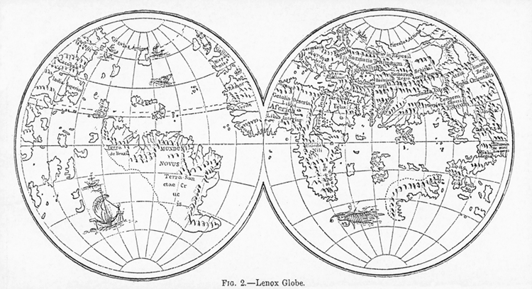 The Lenox Globe. As illustrated in the Encyclopaedia Britannica, 9th edition, Volume X, 1874, Fig.2.