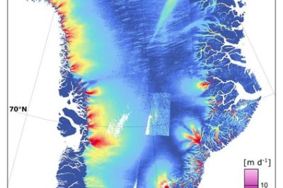 This map of Greenland ice sheet velocity was created using data from Sentinel-1A in January–March 2015 and complemented by the routine 12-day repeat acquisitions of the margins since June 2015. About 1200 radar scenes from the satellite's wide-swath mode were used to produce the map, which clearly shows dynamic glacier outlets around the Greenland coast. In particular, the Zachariae Isstrom glacier in the northeast is changing rapidly, and recently reported as having become unmoored from a stabilising sill and now crumbling into the North Atlantic Ocean. (Colour scale in metres per day).