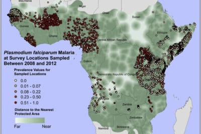 Geographic distribution of malaria in Sub-Saharan Africa. Malaria prevalence survey locations and values overlaid upon the distance to the nearest protected area for Sub-Saharan Africa within the malaria zone. From Taber and Smitchwick, 2015.