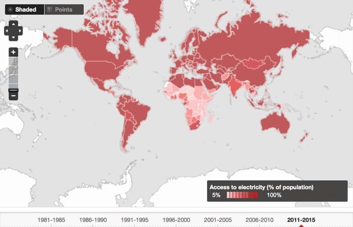 Map showing the percentage of population with access to electricity. Source: World Bank, 2011-2015.