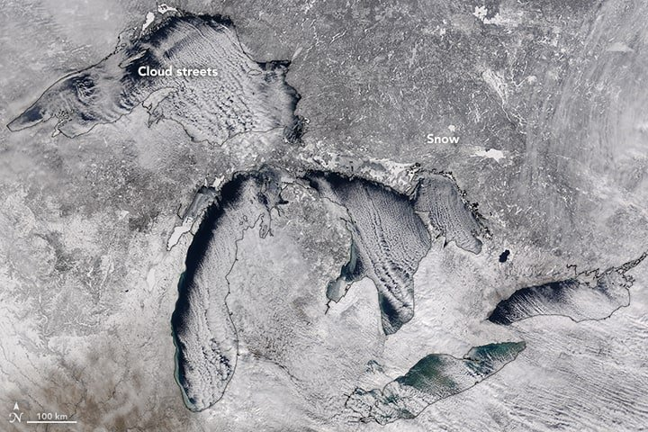 Cloud streets over the Great Lakes, February 110, 2016. NASA image by Jeff Schmaltz, LANCE/EOSDIS Rapid Response.