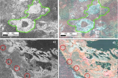 Comparison of land cover between 1968 Corona and 2006 Quickbird images is shown. The upper pair indicates increased tree extent and density (e.g. outlined in green) in undisturbed areas, reflecting positive response of vegetation to climate warming. The lower pair highlights the changes in thermokarst lakes between 1968 (a) and 2006 (b) without much human activity associated disturbance, indicating thawing permafrost that leads to underground drainage.