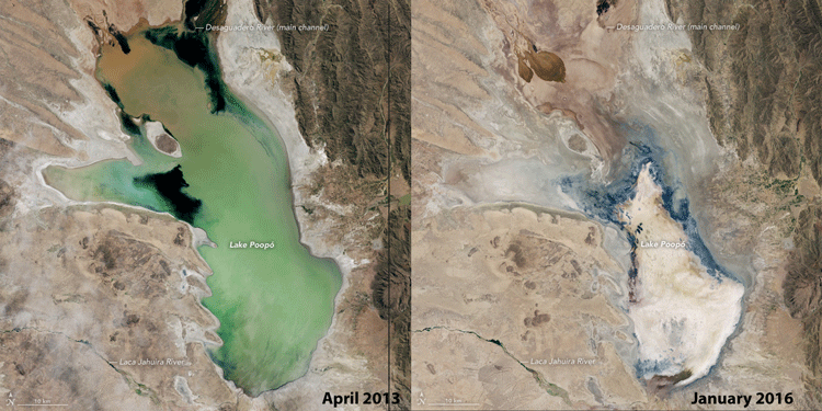 The image on the left, acquired by the Operational Land Imager (OLI) on Landsat 8, shows the lake in April 2013 when it still held water. OLI acquired the image on the right in January 2016, by which time the lake had dried up.