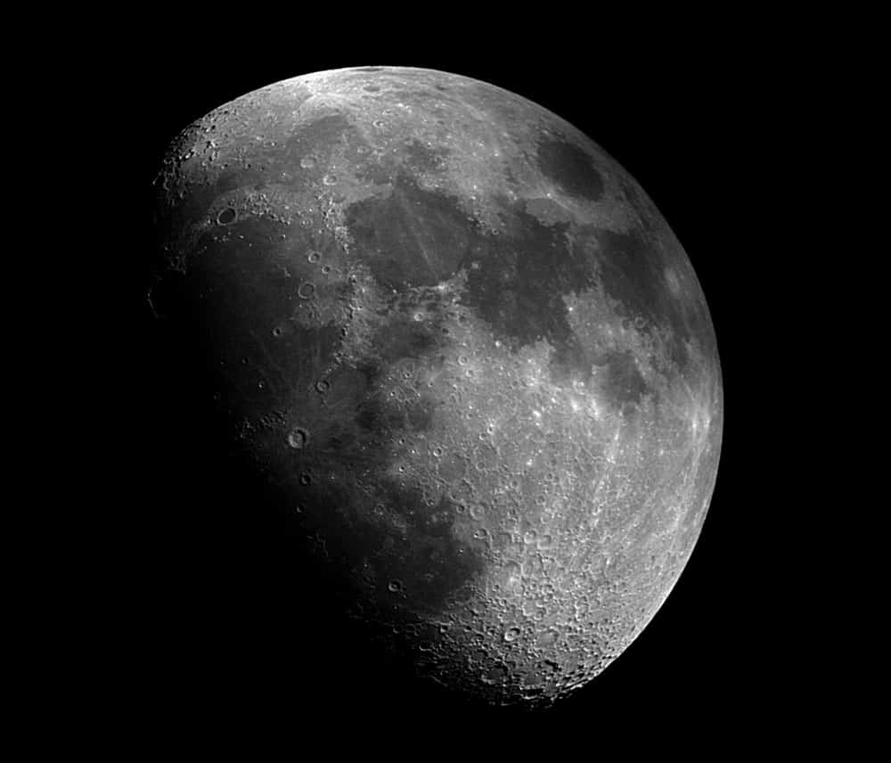 Image of the moon captured through a telescope. Photo: Mike Klinke, USGS. Public domain. https://www.usgs.gov/center-news/mike-and-moon