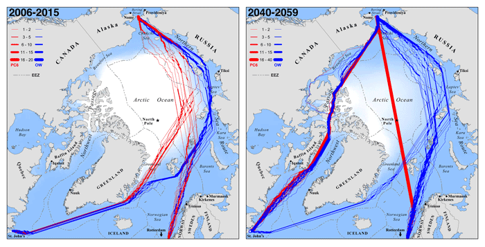 Modeled optimal September navigation routes for hypothetical ships seeking to cross the Arctic Ocean between the North Atlantic (Rotterdam, The Netherlands and St. John's, Newfoundland) and the Pacific (Bering Strait) during consecutive years 2006–2015 and 2040–2059. Source: Smith and Stephenson, 2013.
