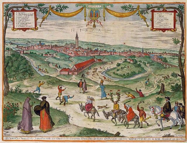 View of Seville (Latin: Hepalis) from 'Civitates Orbis Terrarum' by Joris Hoefnagel.