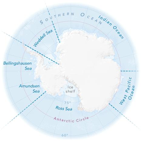 Map of Antarctica by NASA.