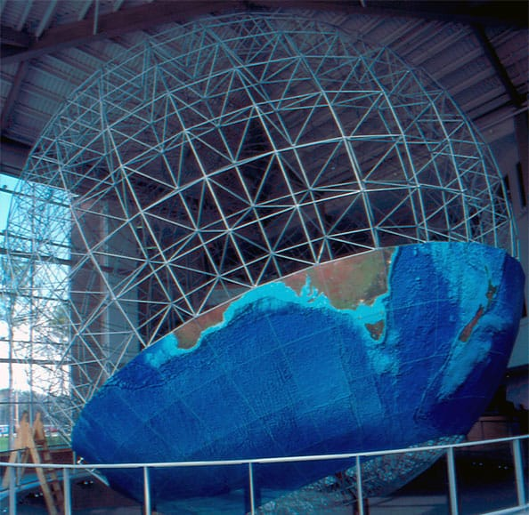 The inner portion of the globe is the Omni-Span™ Truss structure, a system developed by DeLorme made up of 6,000 pieces of lightweight aluminum tubing. Photo: DeLorme.