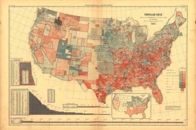 1880 popular vote by county. From Scribner's Statistical Atlas, 1883.