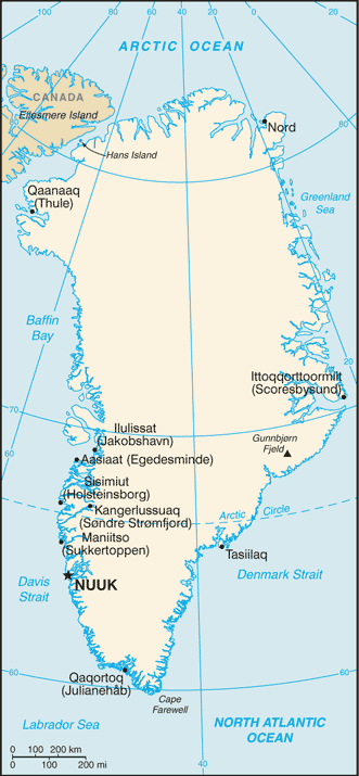 Map of Greenland. Source: CIA, 2008.
