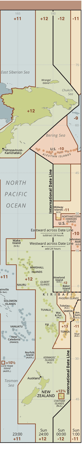 The black line on this map shows the International Date Line. Map: CIA, public domain.