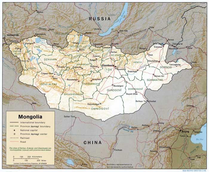 Map Of Mongolia Source Cia 1996