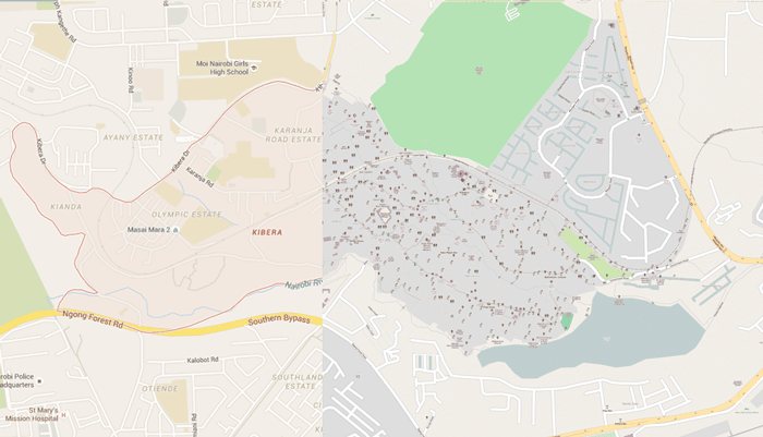 The blank pink shaded area on the left shows the geographic information available for Kibera before the crowdsourced effort by Spatial Collective filled in geographic data (right).