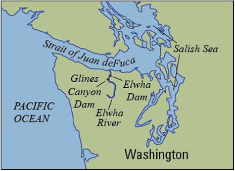 Map of the Elwha River in Washington and the location of the two former dams.  Map: USGS