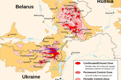 Chernobyl radiation map, Source: CIA handbook. 1996.