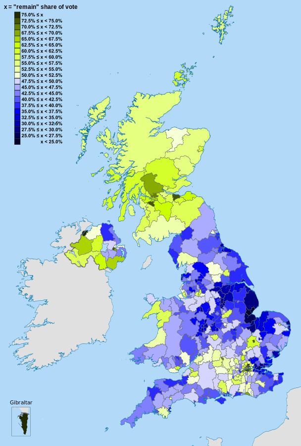 Map of the United Kingdom showing the voting areas for the European Union membership referendum, 2016. Map authors: Mirrorme22, Nilfanion, TUBS, and Sting, Wikipedia.